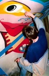Muurschildering, Kindercafe De Zwarte Hond, Deventer.